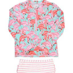 RuffleButts Flamingo Two-Piece Rashguard Swimsuit & Head Wrap Set (Toddler Girls & Little Girls) ... | Nordstrom