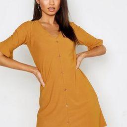 Button Detail Frill Sleeve Shift Dress | Boohoo.com (US & CA)