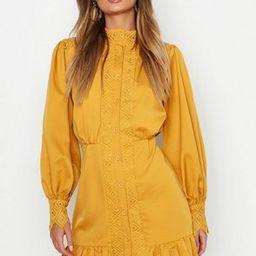 Lace Panel High Neck Ruffle Hem Mini Dress | Boohoo.com (US & CA)