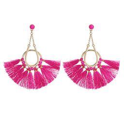 Charm.L Grace Fan Shaped Tassel Earrings Fringe Stud Drop Long Bohemia Statement Earring | Amazon (US)