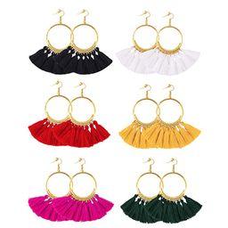 6 Pairs Tassel Hoop Earrings Bohemia Fan Shape Drop Earrings Fish Hook Earrings Dangle Ear Drop f... | Amazon (US)