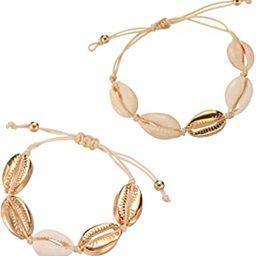 2Pcs Beach Shell Necklace Bracelet Anklet Set for Women Girls Summer Handmade Bracelets Ankle Bra... | Amazon (US)