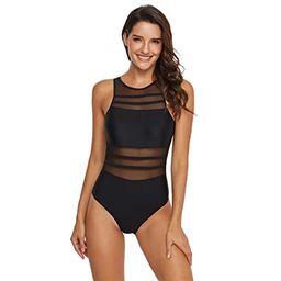 GORBAST Women Swimsuits See Through Mesh Ruched High Neck V-Neckline Top Bikini Swimwear One Piec... | Amazon (US)