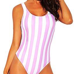 Funnygirl Women's Sexy Colorful Stripe One Piece Swimsuit High Cut Backless Beach Swimwear Bathin... | Amazon (US)