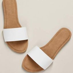 Faux Leather Slip On Sandals WHITE | SHEIN