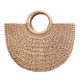 Women's Straw Bag Chic Handbag Woven Summer Beach Tote Bags with Round Handle Ring   Amazon (US)
