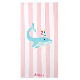Whale Stripe Beach Towel | Pottery Barn Kids