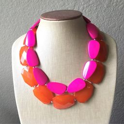 Pink & Orange Necklace, multi strand jewelry, big beaded chunky statement necklace, pink necklace... | Etsy (US)