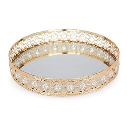 ADOUS HOUSE Glass Mirror, Metal Mirrored Ornate Decorative Tray Jewelry, Tray 12'' x 4'' - Champa... | Amazon (US)