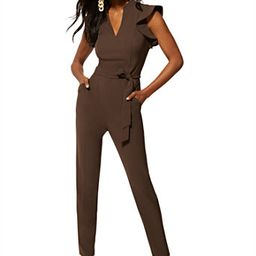 Madie Ruffled-Shoulder Jumpsuit - 7th Avenue   New York & Company