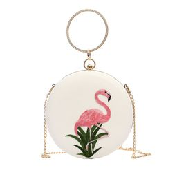 MGH Flamingo Embroidery Round Women Clutch Out Evening Party Bag   Amazon (US)