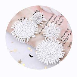 Statement Round Beaded Hoop Bohemia Earrings Handmade Tassel Fringe Drop Dangle Flower Chandelier...   Amazon (US)