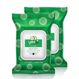 Yes To Cucumbers Soothing Hypoallergenic Facial Wipes for Sensitive Skin, 30 Count (Pack of 2) | Amazon (US)