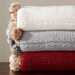 Faux Fur Pom Pom Knitted Throw | Pottery Barn (US)