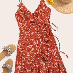 SHEINDitsy Floral Print Ruffle Hem Wrap Knotted Cami Dress   SHEIN