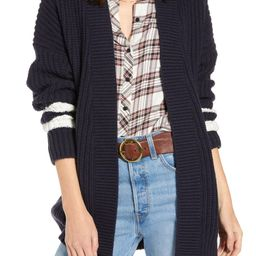 Stripe Detail Open Front Cotton & Wool Blend Cardigan   Nordstrom