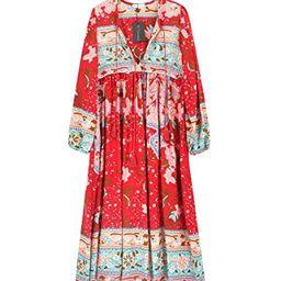 R.Vivimos Women's Long Sleeve Floral Print Retro V Neck Tassel Bohemian Midi Dresses | Amazon (US)