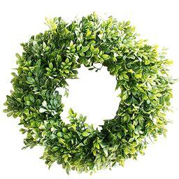 """Pauwer Artificial Green Leaves Wreath 18"""" Boxwood Door Wreath Spring Green Wreath for Front Door ...   Amazon (US)"""