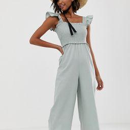 ASOS DESIGN shirred frill sleeve jumpsuit | ASOS US