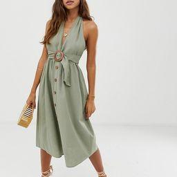 ASOS DESIGN halter neck midi button through linen sundress with buckle | ASOS US