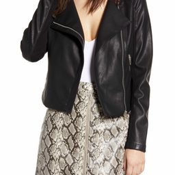 Record Breaker Collarless Faux Leather Moto Jacket   Nordstrom