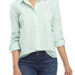 Crown & Ivy™ Long Sleeve Gingham Button Up Top | Belk