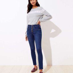 Modern High Waist Slim Pocket Skinny Jeans in Staple Dark Indigo Wash | LOFT
