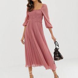 ASOS DESIGN shirred pleated midi dress   ASOS US