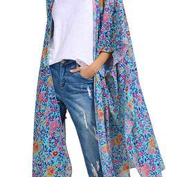 Hibluco Women's Sheer Chiffon Floral Kimono Cardigan Long Blouse Loose Tops Outwear   Amazon (US)