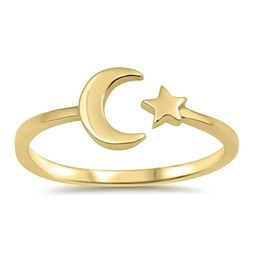 CHOOSE YOUR COLOR Sterling Silver Moon Star Ring   Amazon (US)