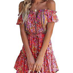 GAMISOTE Womens V Neck Wrap Dress Boho Floral Print Ruffle Tie Waist Mini Dresses | Amazon (US)
