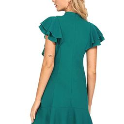 Floerns Women's Tie Neck Short Sleeve Ruffle Hem Cocktail Party Dress | Amazon (US)