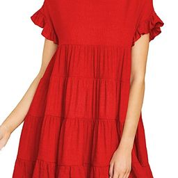 MIHOLL Women's Casual Summer Ruffle Babydoll Loose Mini Dress   Amazon (US)