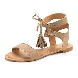 DREAM PAIRS Women's Ankle Strap Gladiator Flat Sandals | Amazon (US)