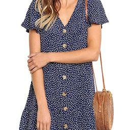 Angashion Women's Dresses-Short Sleeve V Neck Button T Shirt Mini Skater Dress   Amazon (US)