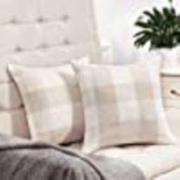 Anickal Set of 2 Beige and White Buffalo Check Plaid Throw Pillow Covers Farmhouse Decorative Squ... | Amazon (US)