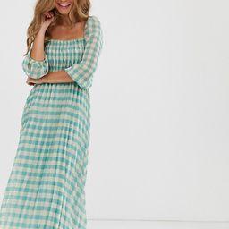 ASOS DESIGN shirred pleated midi dress in gingham print | ASOS US