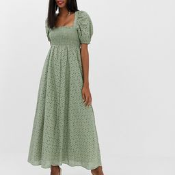 ASOS DESIGN shirred bustier maxi dress with puff sleeve in broderie | ASOS US