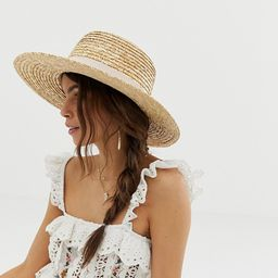 ASOS DESIGN natural straw easy boater with size adjuster and light band | ASOS US