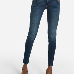 mid rise dark wash skinny jeans | Express