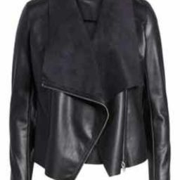 Onto the Next Faux Leather Drape Front Jacket   Nordstrom