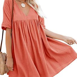 Hestenve Women's Short Sleeve V Neck Pleated Babydoll Solid Color Tunic Party Swing Mini Dress | Amazon (US)