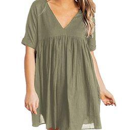 YIBOCK Women's Short Sleeve V Neck Pleated Loose Babydoll Solid Color Tunic Mini Dress | Amazon (US)