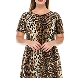 Jostar Women's Stretchy Missy Dress Short Sleeve Print | Amazon (US)