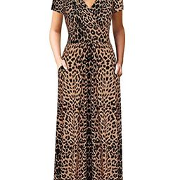 Womens Short Sleeve Empire Waist Summer Floral Maxi Dresses with Pockets | Amazon (US)