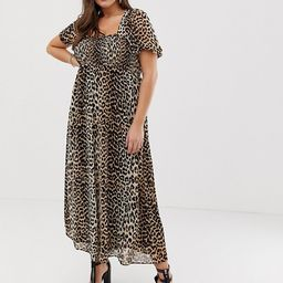 ASOS DESIGN Curve shirred bustier maxi dress with puff sleeve in animal print | ASOS US