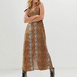 ASOS DESIGN tie back linen maxi dress in leopard print | ASOS US