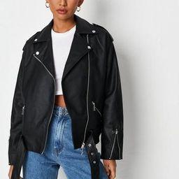 Missguided - Black Oversized Boyfriend Biker Jacket   Missguided (UK)