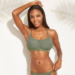 Women's Ribbed Snap Front Bralette Bikini Top - Xhilaration™ | Target