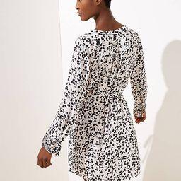 Leopard Print Pleated Cuff Dress | LOFT